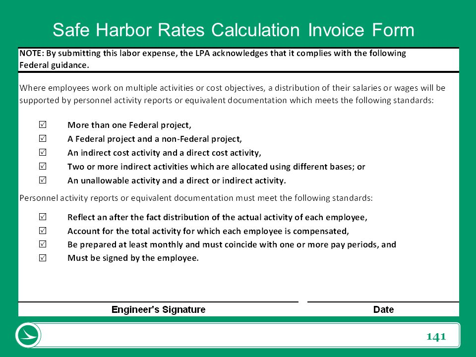 Safe Harbor Rates Calculation Invoice Form