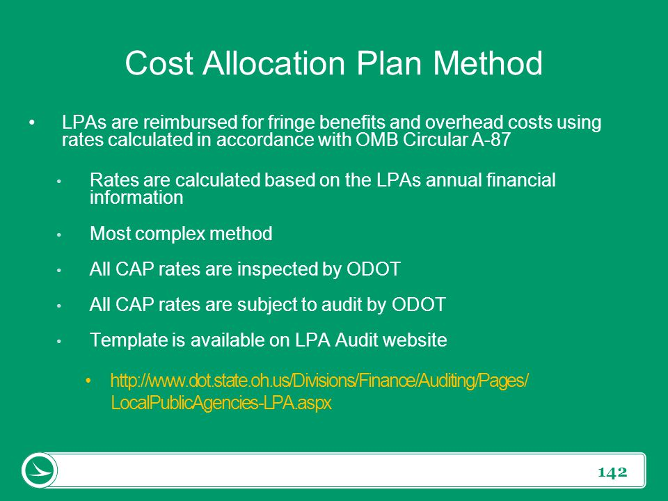 Cost Allocation Plan Method