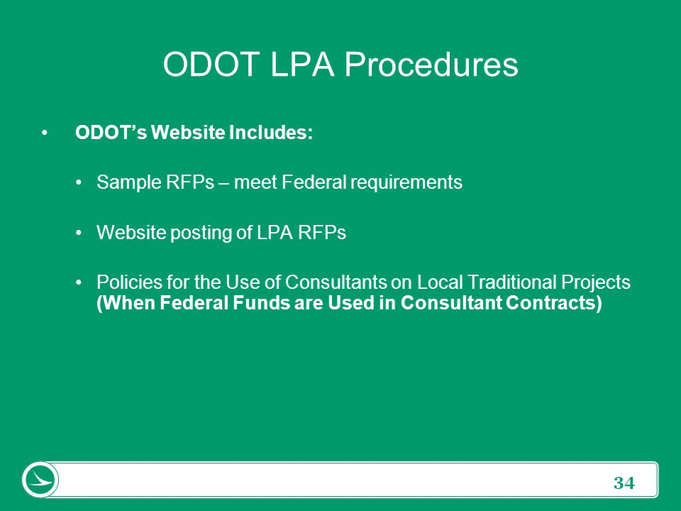 ODOT LPA Procedures ODOT's Website Includes: