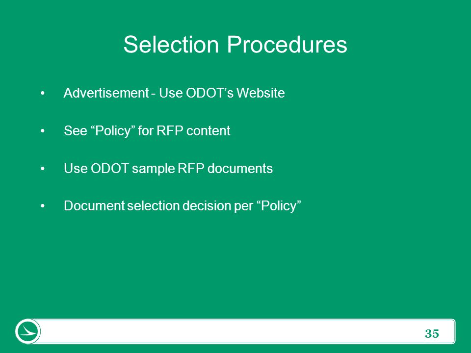 Selection Procedures Advertisement - Use ODOT's Website