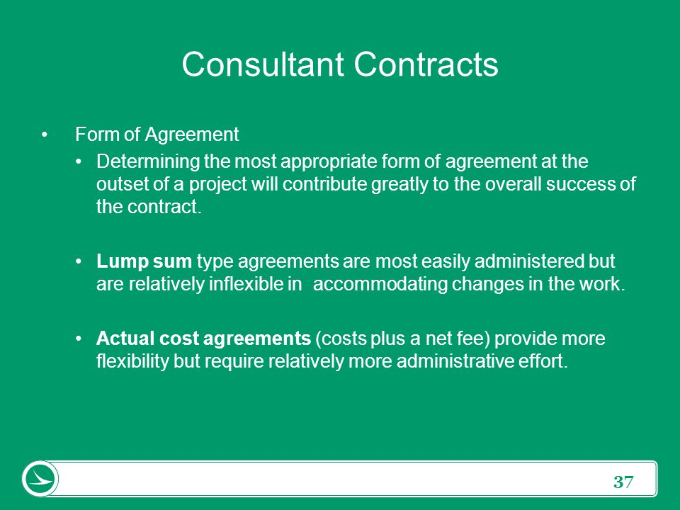 Consultant Contracts Form of Agreement