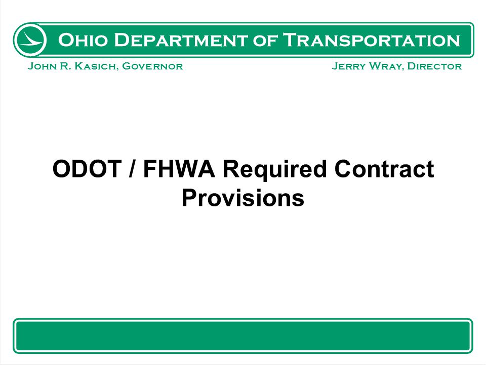 ODOT / FHWA Required Contract Provisions