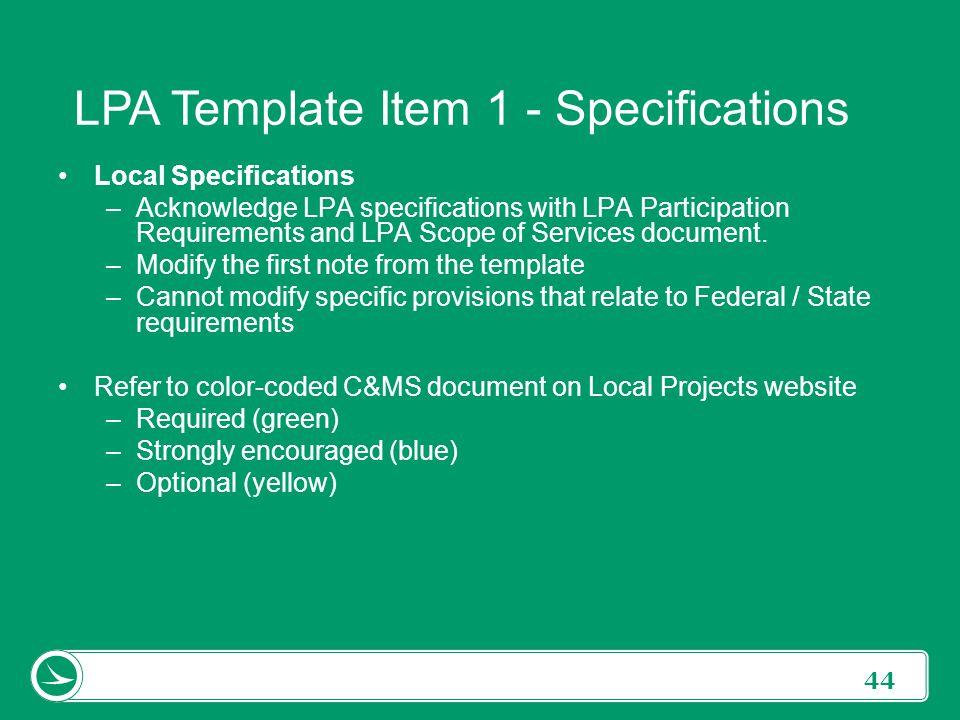 LPA Template Item 1 - Specifications