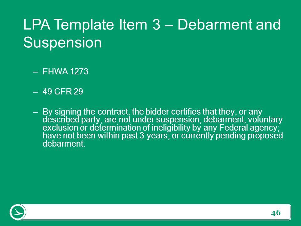 LPA Template Item 3 – Debarment and Suspension