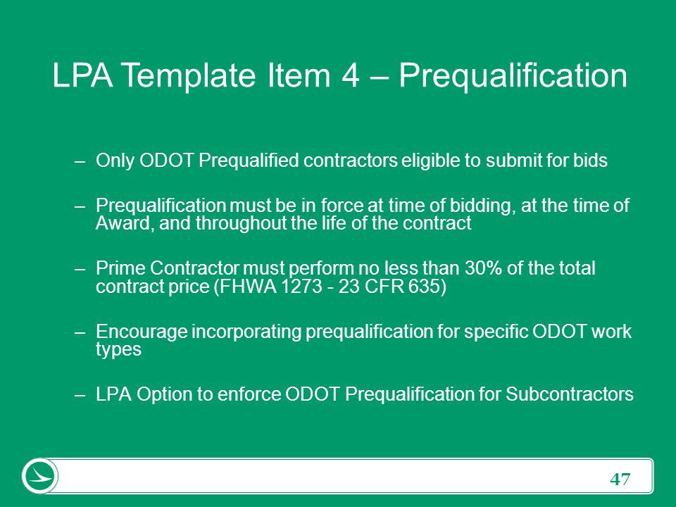 LPA Template Item 4 – Prequalification