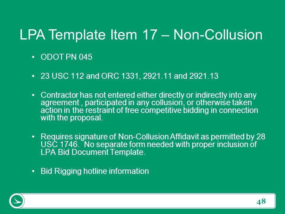 LPA Template Item 17 – Non-Collusion