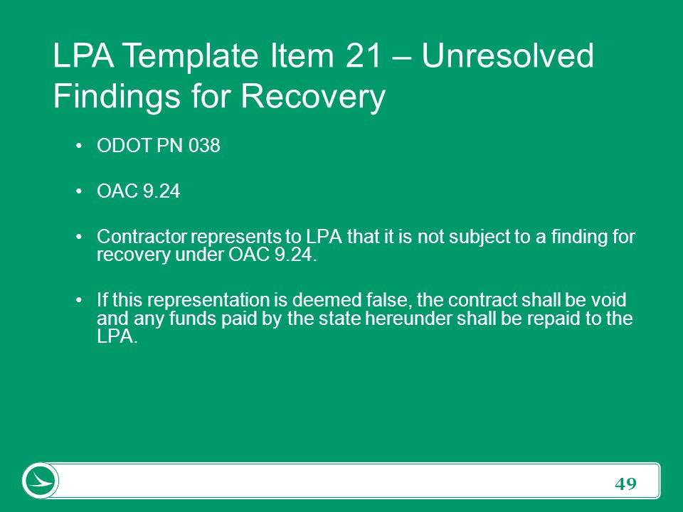 LPA Template Item 21 – Unresolved Findings for Recovery