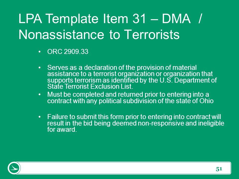 LPA Template Item 31 – DMA / Nonassistance to Terrorists