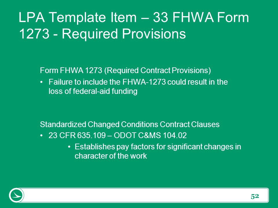 LPA Template Item – 33 FHWA Form 1273 - Required Provisions