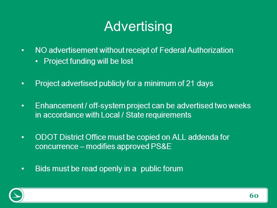 Advertising NO advertisement without receipt of Federal Authorization