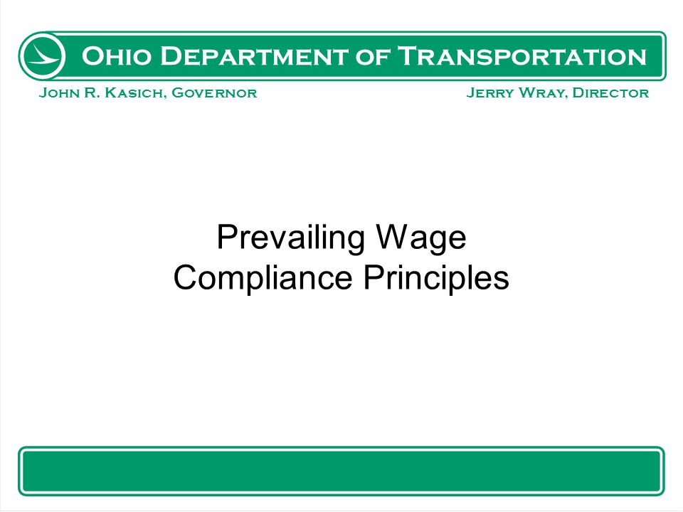Prevailing Wage Compliance Principles