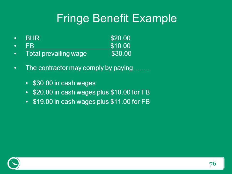 Fringe Benefit Example