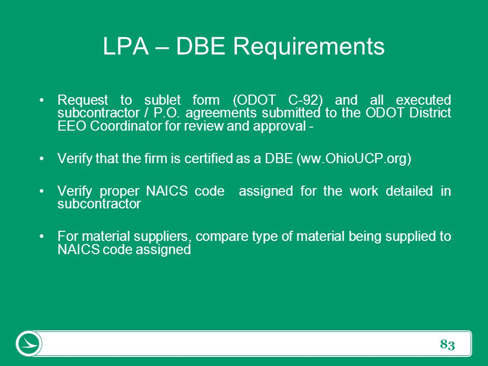 LPA – DBE Requirements