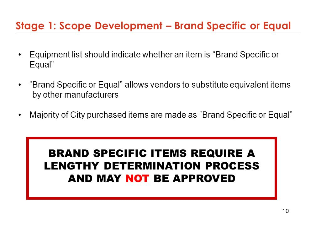 Stage 1: Scope Development – Brand Specific or Equal