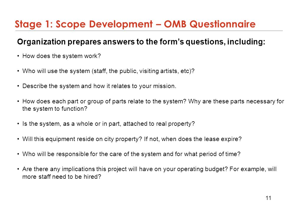 Stage 1: Scope Development – OMB Questionnaire