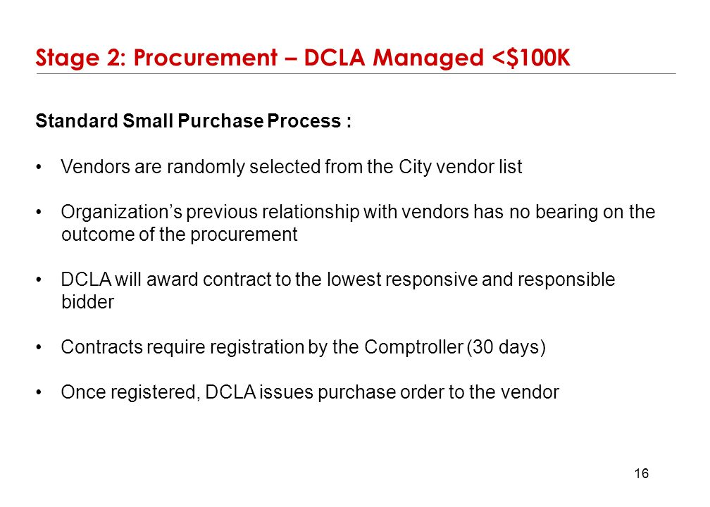 Stage 2: Procurement – DCLA Managed <$100K