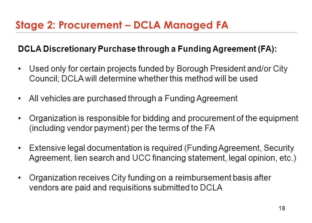 Stage 2: Procurement – DCLA Managed FA