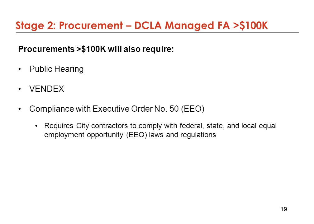Stage 2: Procurement – DCLA Managed FA >$100K