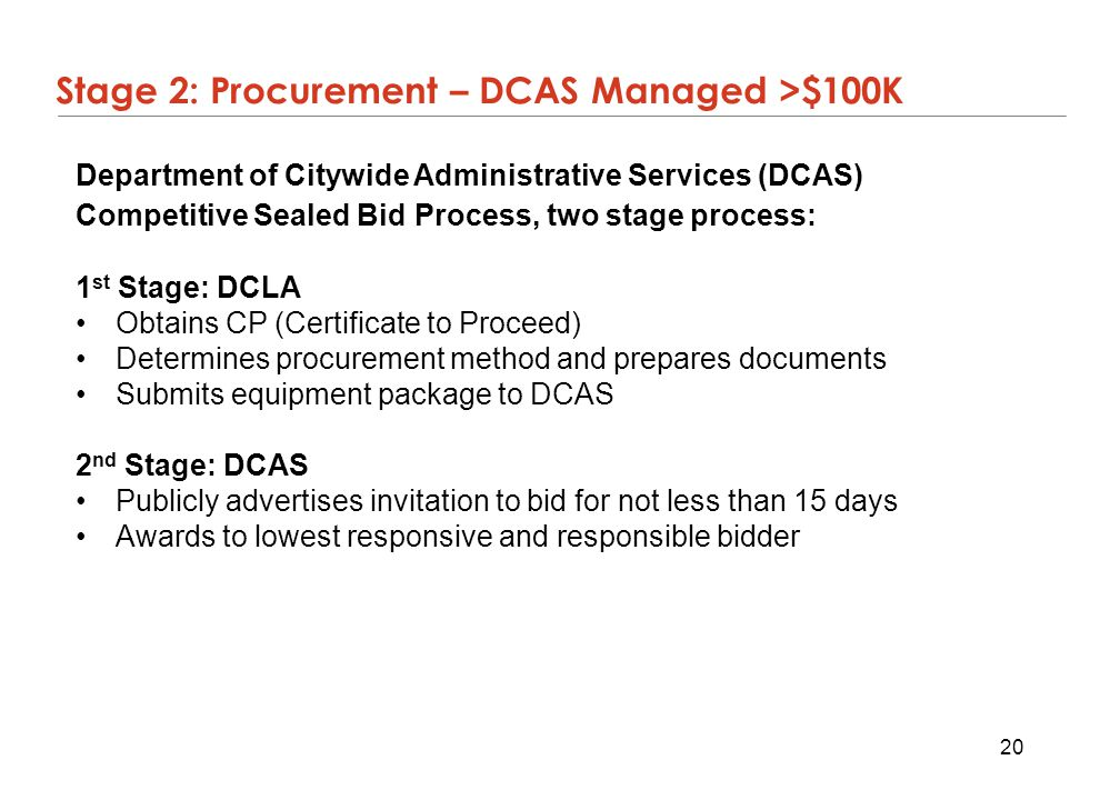 Stage 2: Procurement – DCAS Managed >$100K