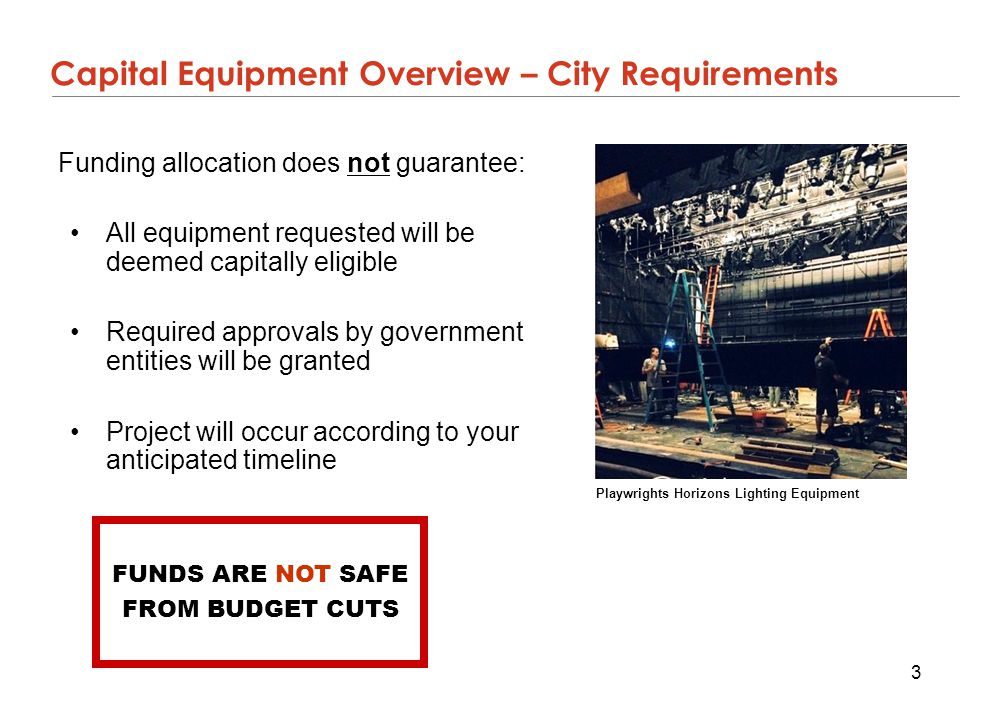 Capital Equipment Overview – City Requirements