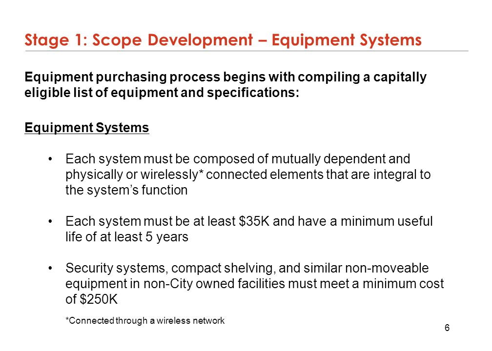 Stage 1: Scope Development – Equipment Systems