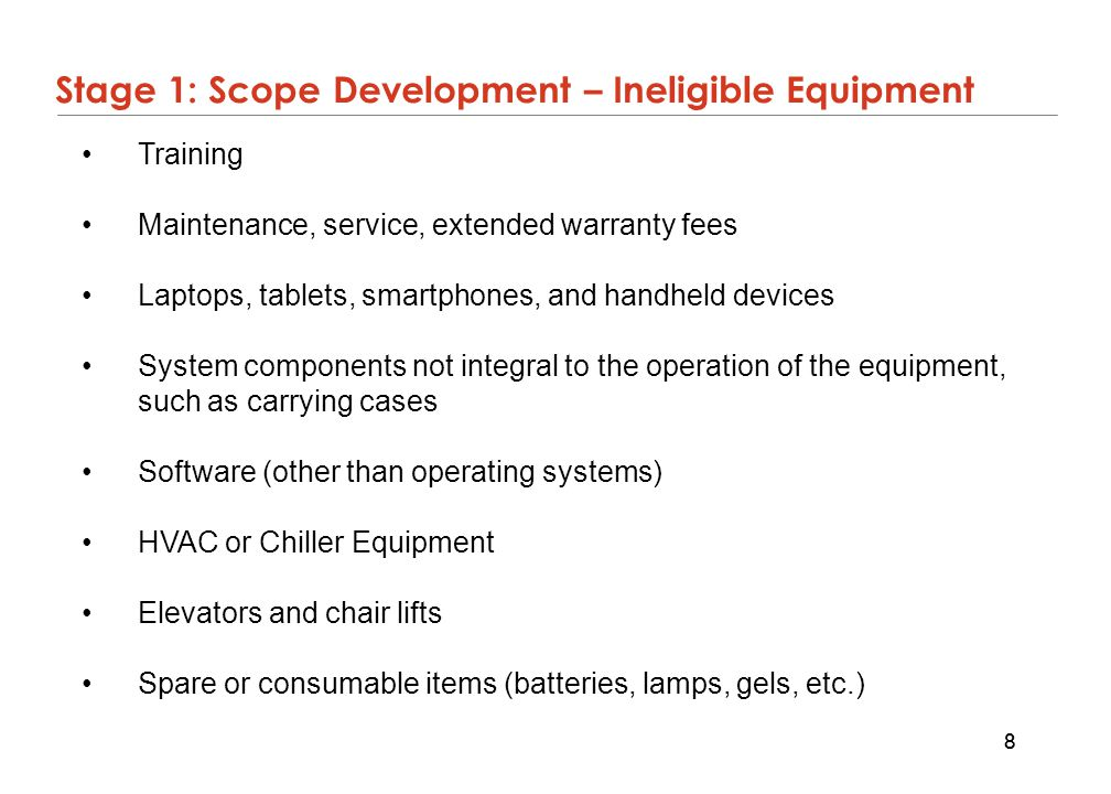 Stage 1: Scope Development – Ineligible Equipment