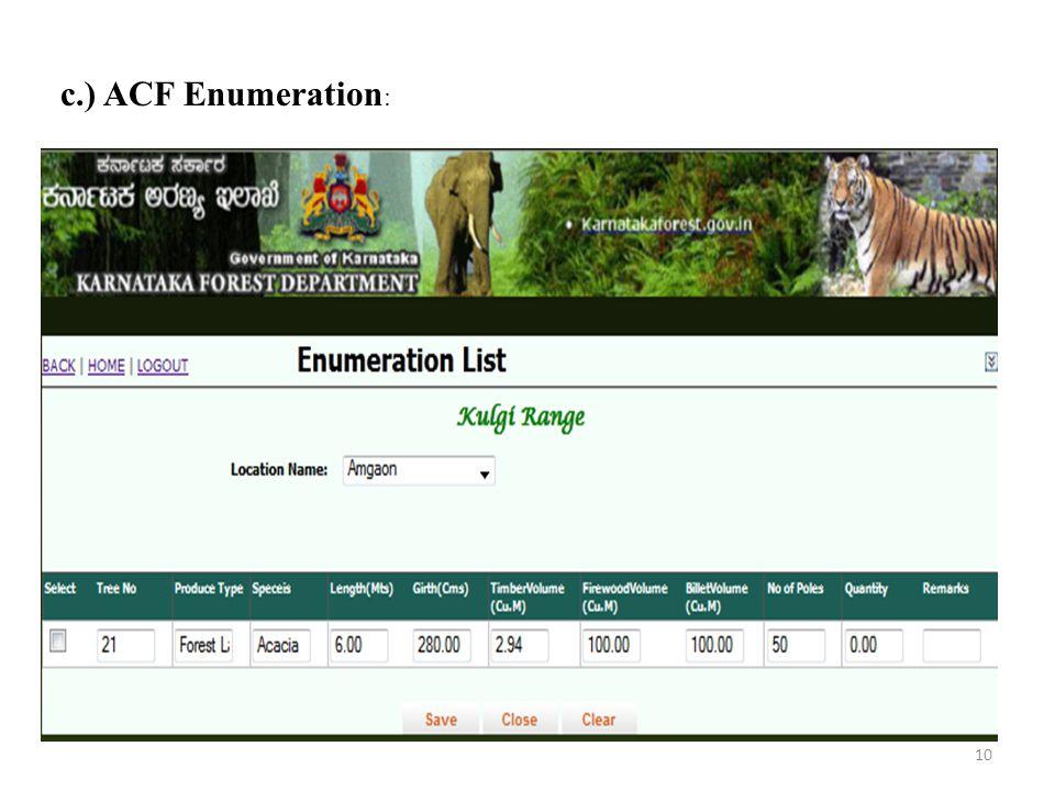 c.) ACF Enumeration: