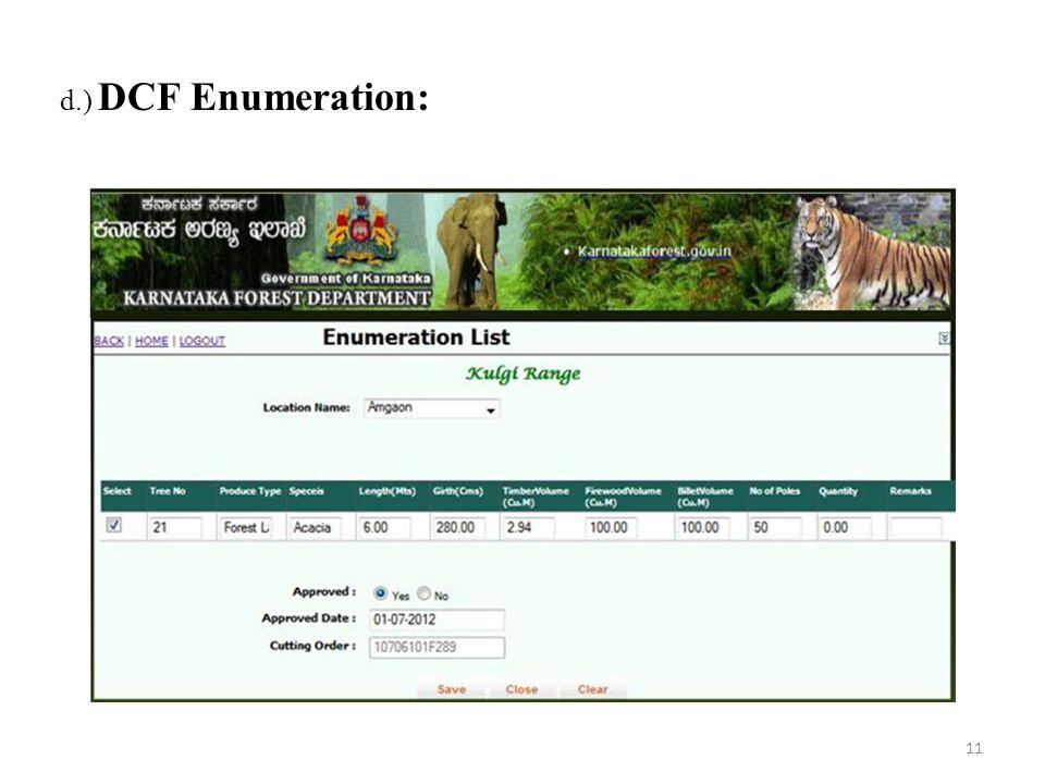 d.) DCF Enumeration: