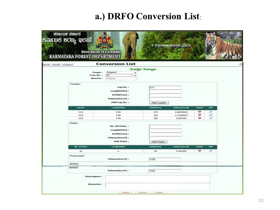 a.) DRFO Conversion List: