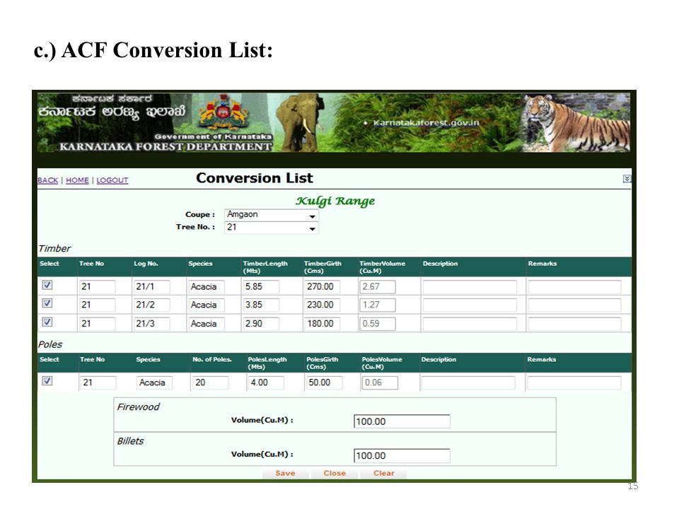 c.) ACF Conversion List: