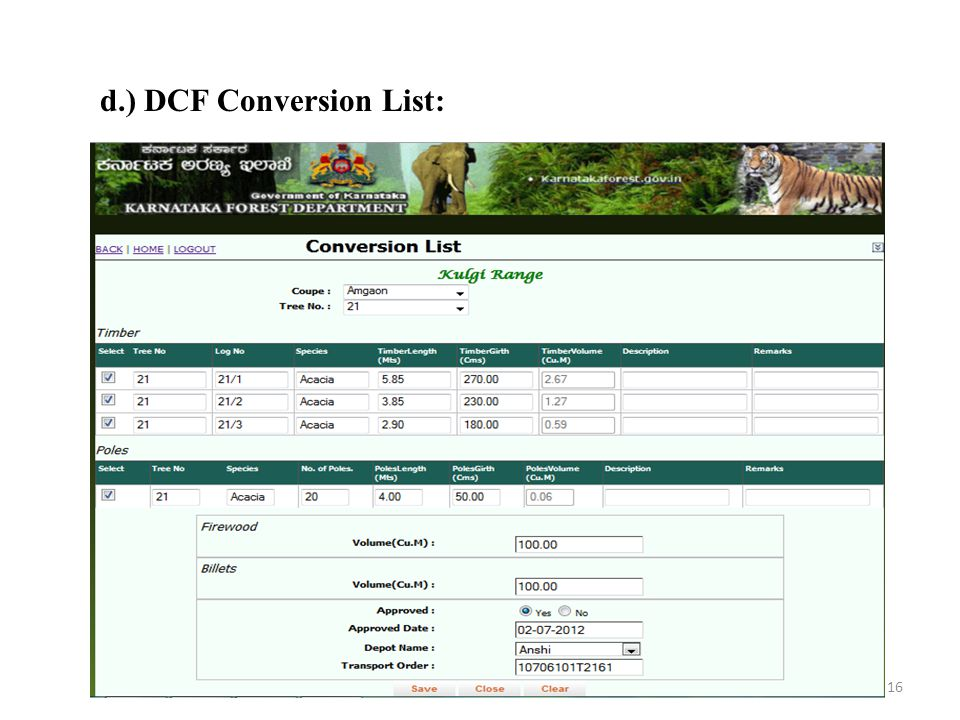 d.) DCF Conversion List: