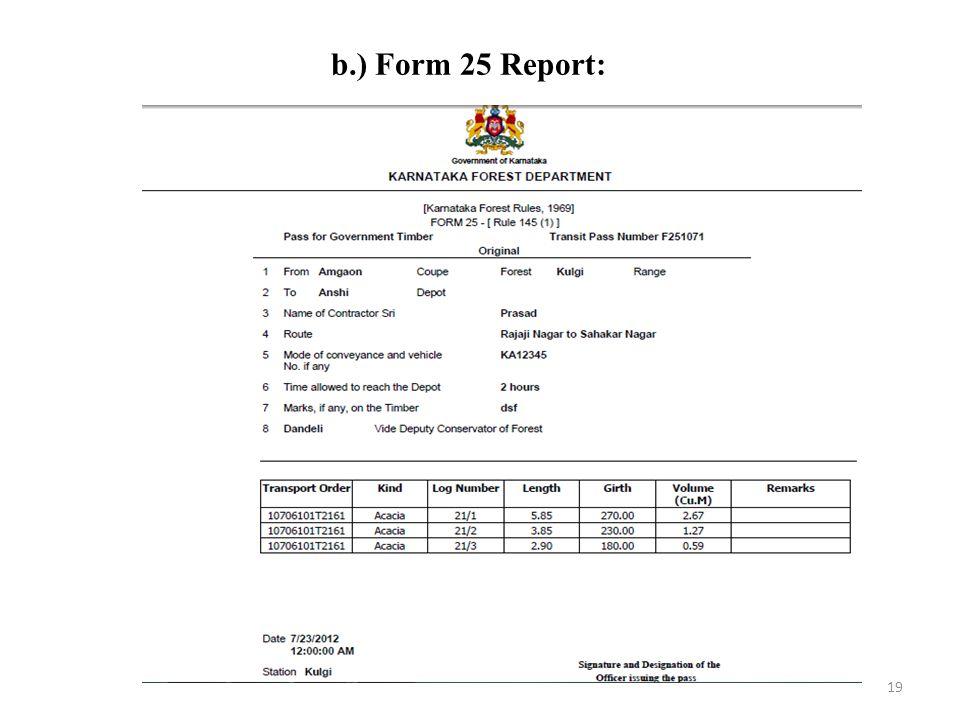 b.) Form 25 Report:
