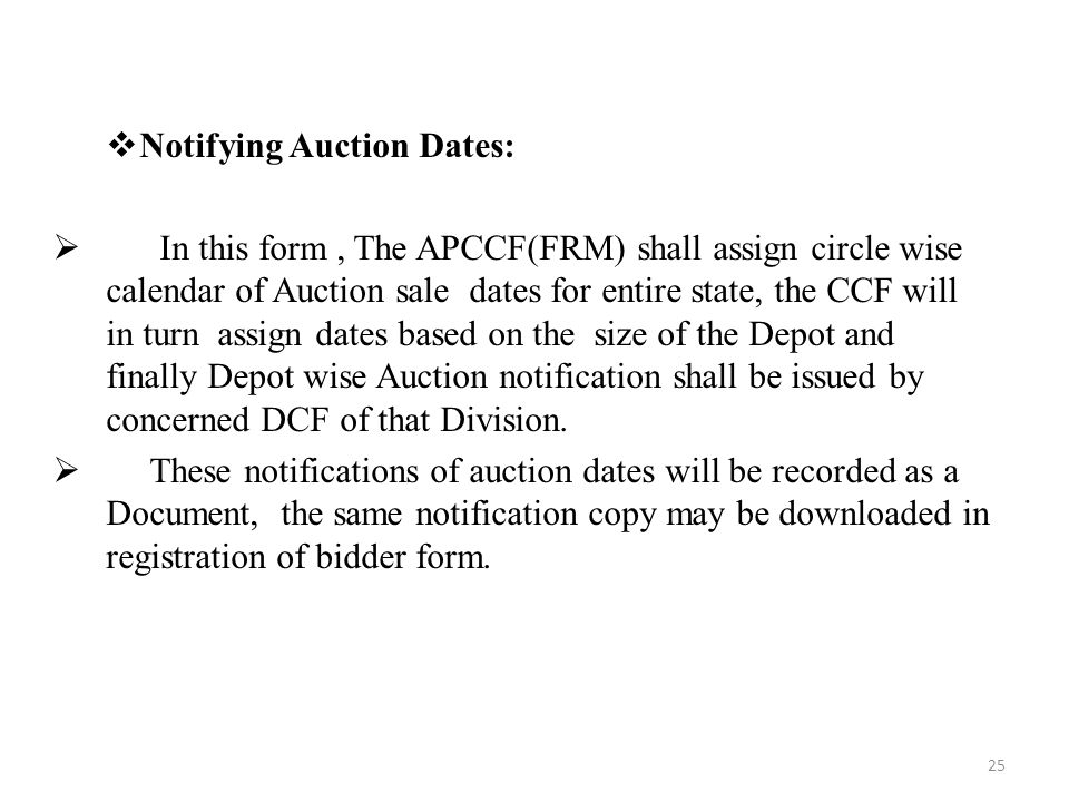 Notifying Auction Dates: