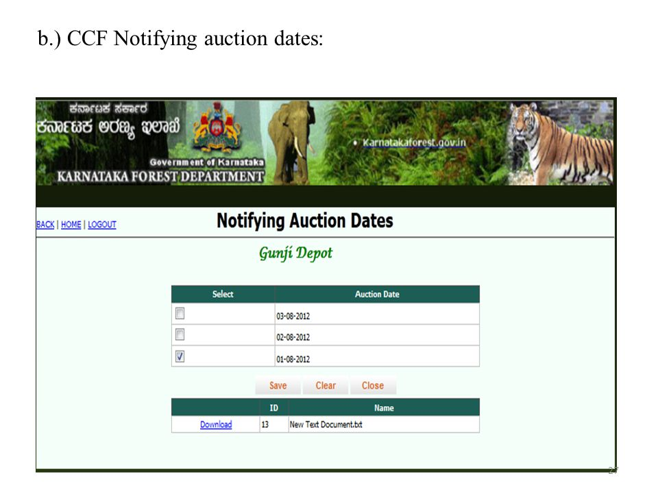 b.) CCF Notifying auction dates: