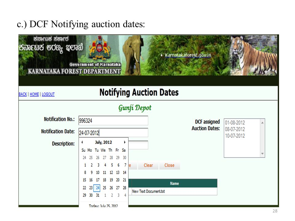 c.) DCF Notifying auction dates: