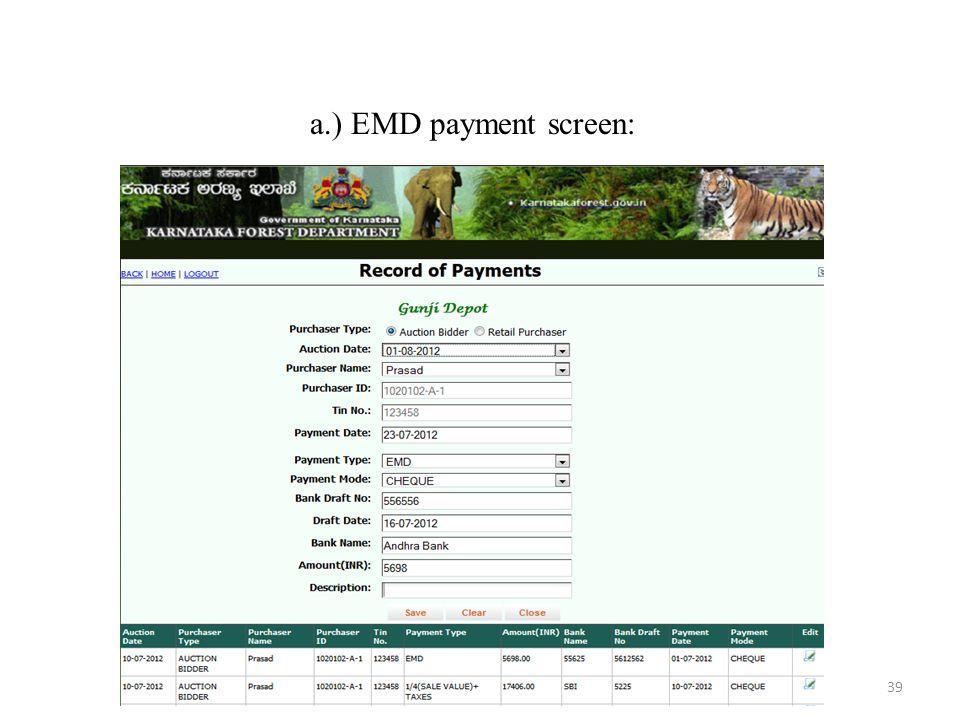 a.) EMD payment screen: