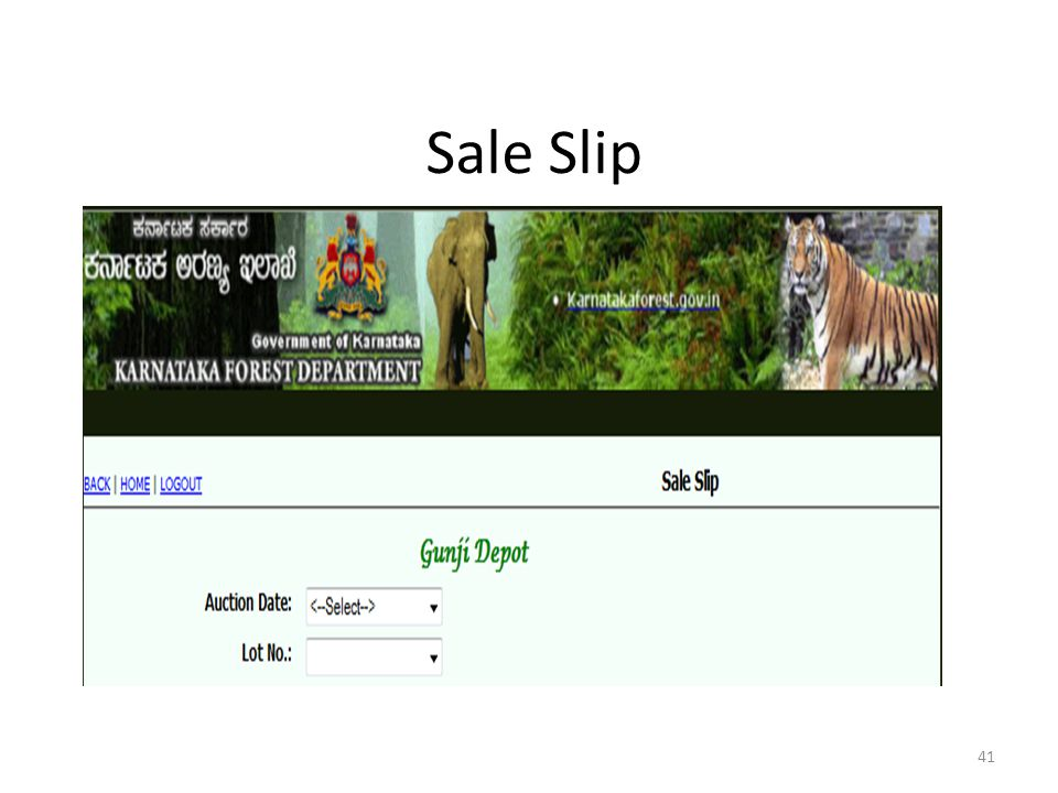 Sale Slip Sales Slip : It is a sale Document used at the time of Auction sale for each lot exposed for the sale.