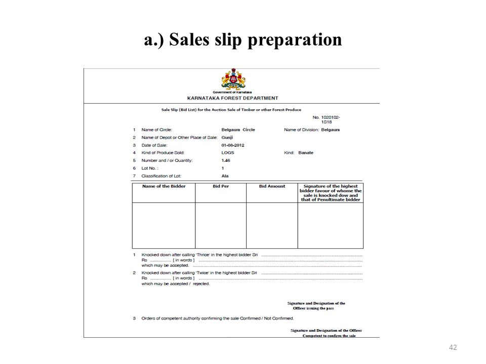 a.) Sales slip preparation