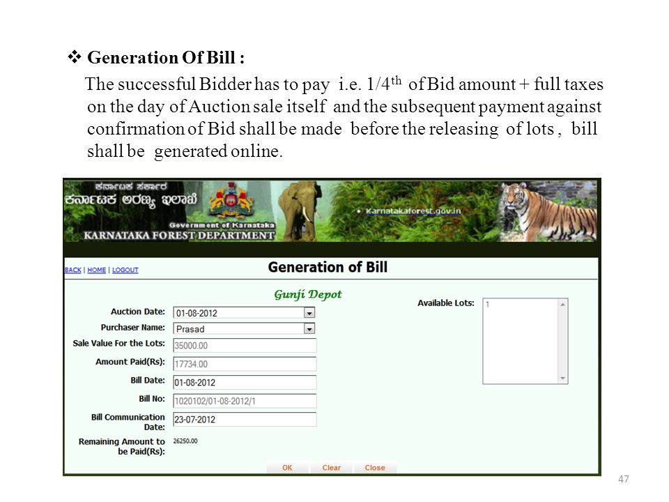 Generation Of Bill :