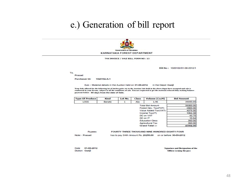 e.) Generation of bill report