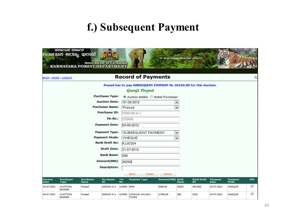 f.) Subsequent Payment