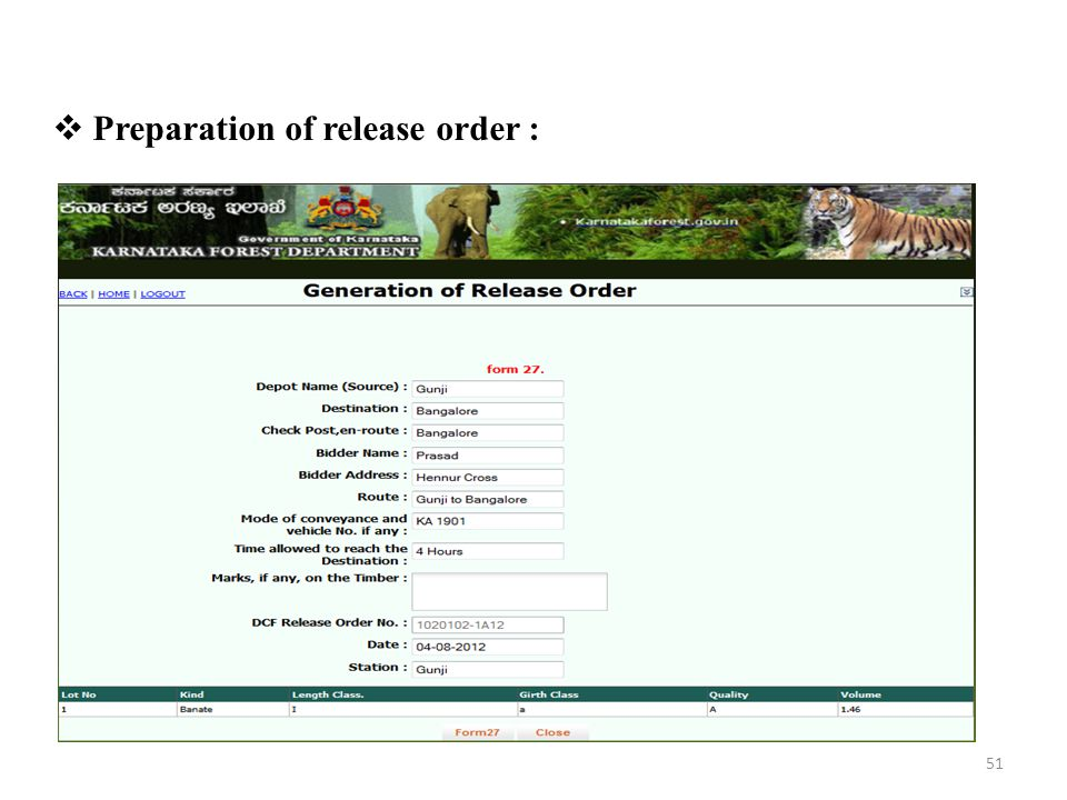 Preparation of release order :