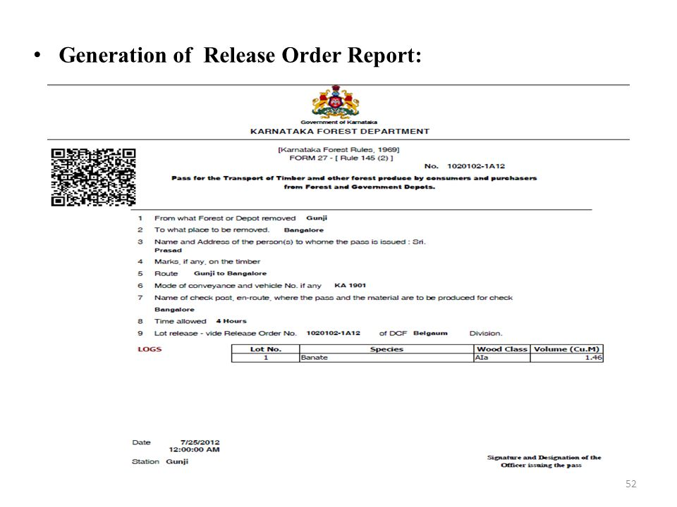 Generation of Release Order Report: