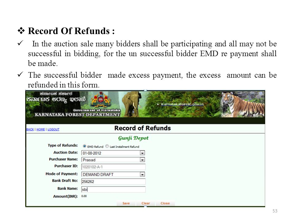 Record Of Refunds :