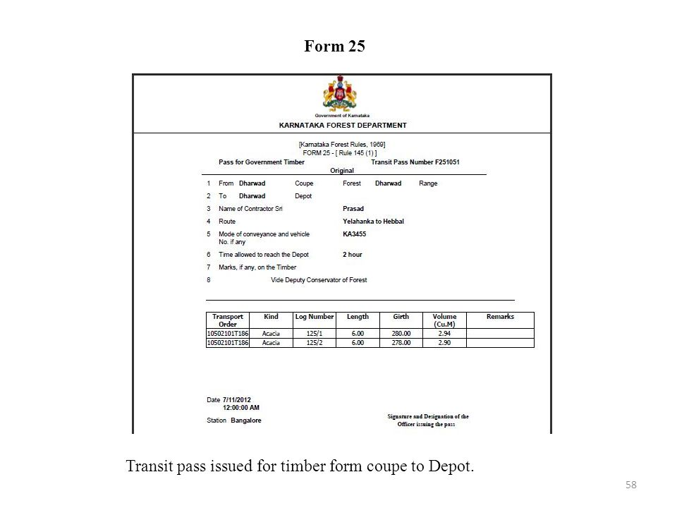 Form 25 Transit pass issued for timber form coupe to Depot.
