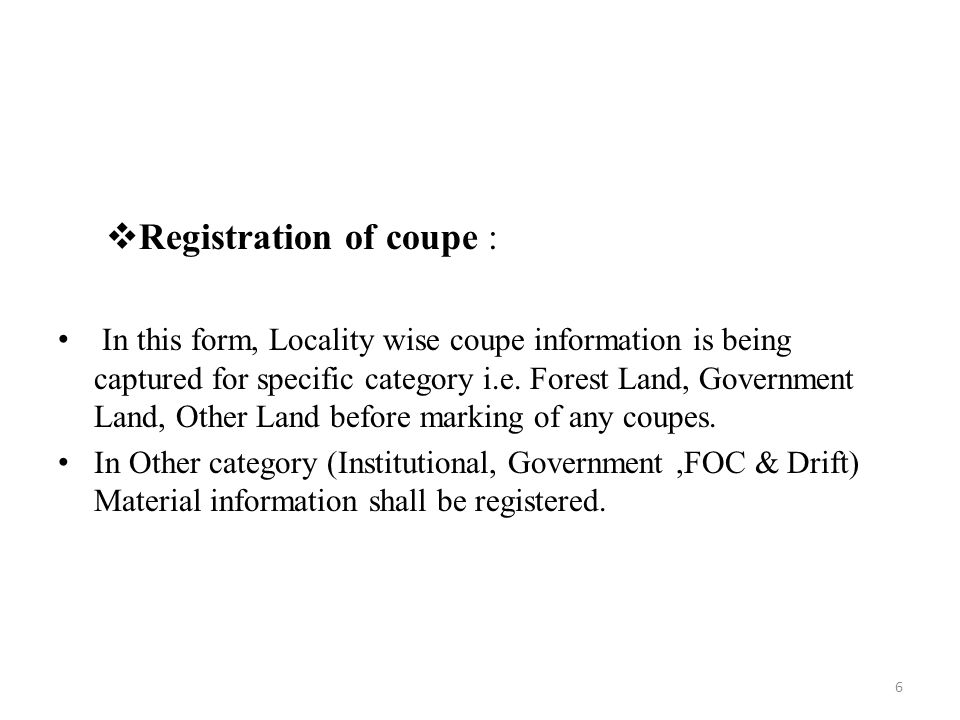 Registration of coupe :