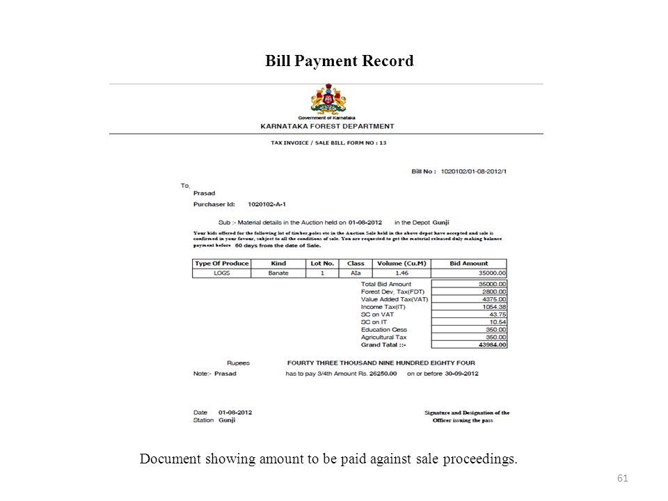 Document showing amount to be paid against sale proceedings.