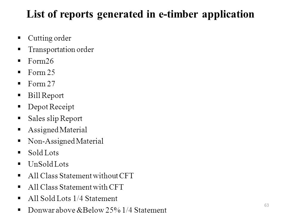 List of reports generated in e-timber application