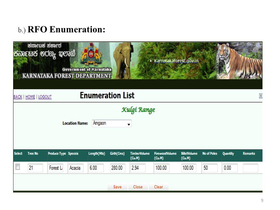 b.) RFO Enumeration: