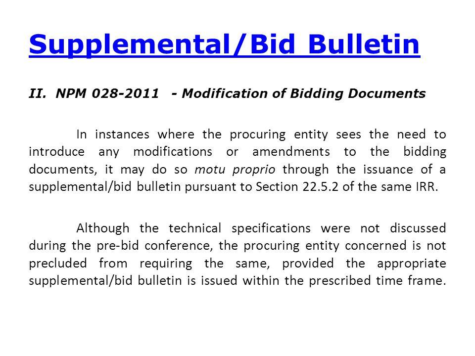 Supplemental/Bid Bulletin